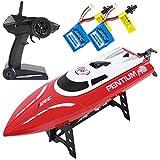 SGILE Ferngesteuertes Boot für Pool & Outdoor, RC Rennboot mit Fernbedienung, 2.4 Ghz High Speed RC Boote Racing Boot für Erwachsene & Kinder, Geschenk Rot