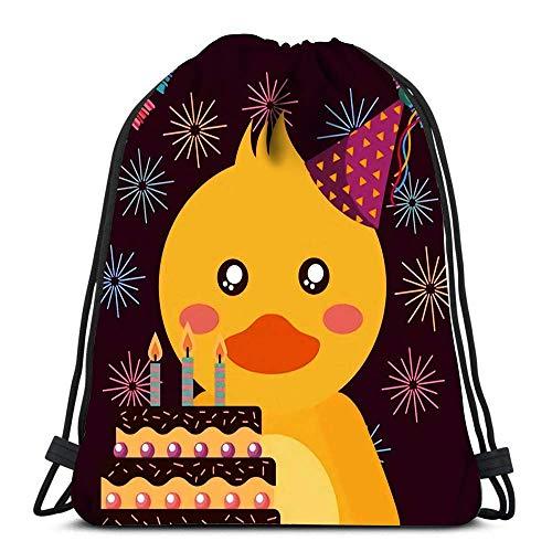 Kordelzug Rucksack Süße Ente und Kuchen Alles Gute zum Geburtstag Wäschesack Fitnessstudio Yoga Tasche 36 x 43 cm / 14,2 x 16,9 Zoll