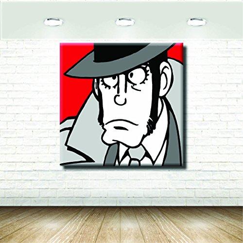 Stampa su Tela Canvas - Formato 120X120 Solo Tela - Stampa in qualita fotografica - Quadri Fumetti & Cartoni - Zenigata Lupin Rosso Nero Grigio