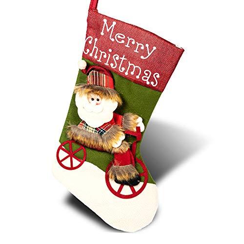 Loomiloo, stivali di Babbo Natale da riempire, grande calza di Natale, da appendere, stivali di Babbo Natale in feltro per camino, calza decorativa