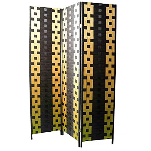 Biombo Separador de ambientes, Bambu y Papel Trenzado Negro Amarillo 180 x 135 cm - Hogar y más.
