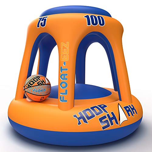 FLOAT-EEZ Hoop Shark Swimming Pool Basketball Hoop Set - 2020 Edition - Inflatable Hoop with Ball Included - Perfect for Competitive Water Play and Trick Shots - Ultimate Summer Toy (Orange)