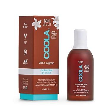 COOLA Organic Sunless Tan, Body Dry Oil Mist Self Tanner, Piña Colada, 3.4 Fl Oz