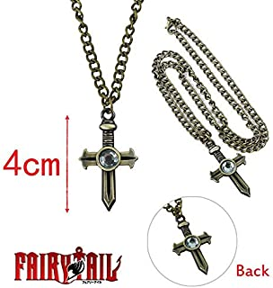 Allegro Huyer Fairy Tail 1pc Japanese Anime Figures Figure Toys Gray fullbuster Cosplay Cross Necklace Pendant Collectible Cartoon Kids Gift Style 2