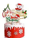 4pcs Christmas Cake Topper Merry Christmas Cake Decorations for for Cake Dish Decoration Party Supplies, Xmas Decor Party Decorations(4pcs)