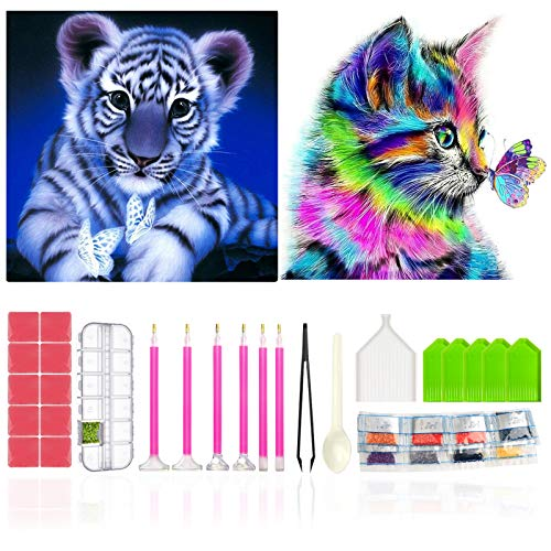 FENGMANG Diamond Painting Full Set, DIY 5D Diamond Painting Cat and Tiger 2 Pieces Diamond Painting Pictures with Diamond Painting Accessories Diamond Painting Crafts for Adults Wall Decoration