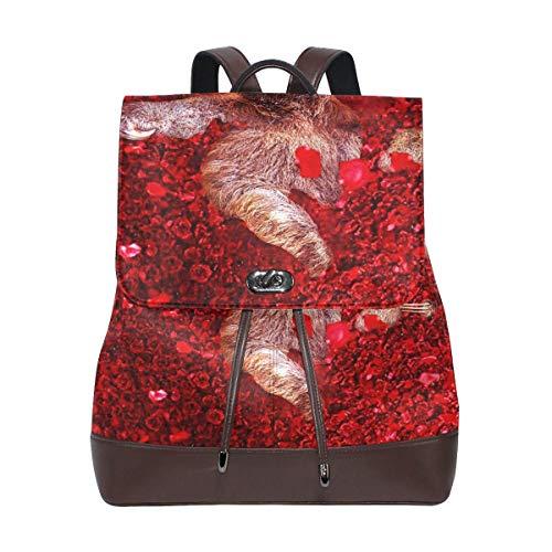 Zaino scuola,American Slothy Travel Backpack Leather Handbag School Pack