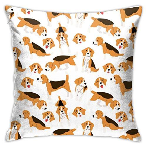 SunJingJingRTUJ Beagle Dog Action Throw Kissenbezug Quadratischer Kissenbezug Dekorativer Kissenbezug 18 X 18 Zoll