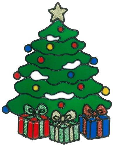MagicGel Fensterbilder Weihnachten - Weihnachtsbaum mit Geschenken (21 x 27 cm), Fensterdeko für das Basteln mit Kindern