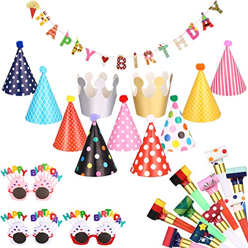 Marspark 25 Pcs Birthday Party Hats Set Includes 1 Colorful Happy Birthday Banner 3 Happy Birthday Glasses 10 Birthday Whistles 11 Adorable Party Cone Hats for Adults Kids Birthday Party Decorations