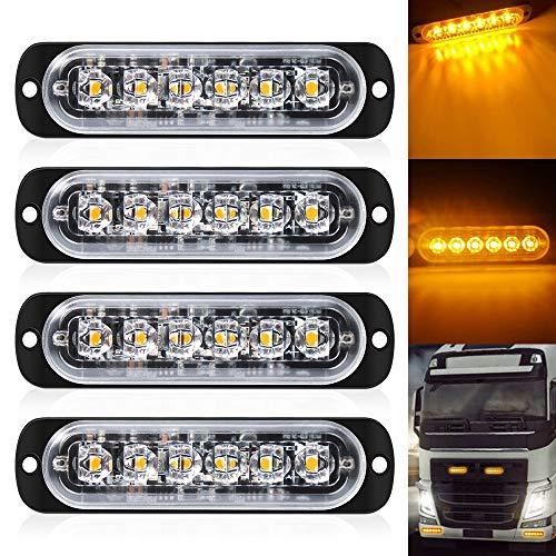 DEFVNSY - Paquete de 4 Luz estroboscópica ultradelgada de color ámbar de 6 LED - barra de luz de emergencia 18 Luz estroboscópica led de modo intermitente 12V-24V para camión universal Vehivle