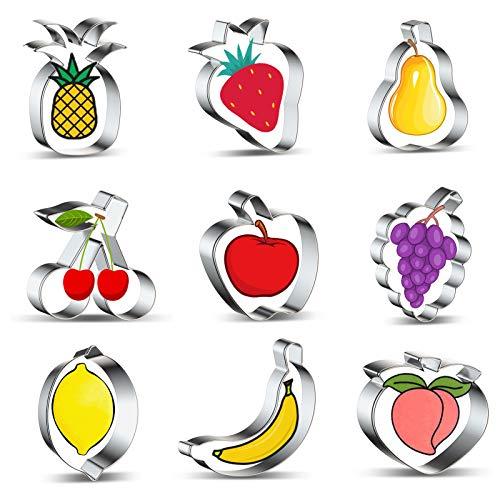 Ausstechformen Ausstecher Set, Obst Fondant Keksausstecher 9 Stück, Edelstahl Brot Gemüse Keksschneider für Keks, Plätzchen, Backen, Tortendekorationen