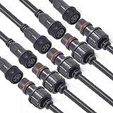 YETOR Conectores Impermeables, Conector LED macho hembra, 4 pines, 4 núcleos, conectores impermeables IP65 con cable de extensión de 16 AWG 20 cm para tiras de luces LED. (5 pares)