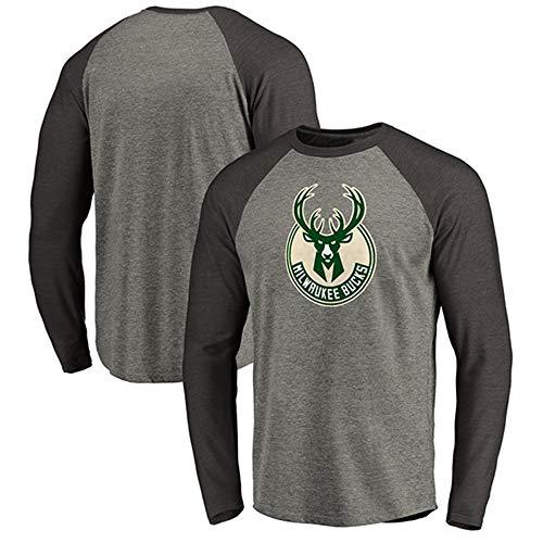 Herren Basketball NBA Trikot Milwaukee Bucks T-Shirt Langarm Bekleidung Für Jugend Sweatshirt S-XXXL Grey-XXXL