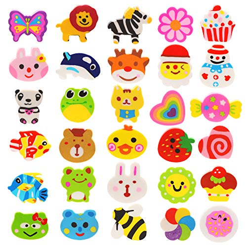 CXTSMSKT Pencil Erasers 60 Pcs Animal and Food Erasers Bulk for Kids Party Favors Classroom Prizes Carnival Gifts ( 30 Designs )