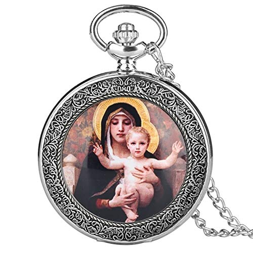 LiQinKeJi8 Pocket Watch Religious Style Virgin Mary and Jesus Quartz Pocket Watch Pendant for Women Girls Lady Jewelry Necklace Chain Watch for Men Women (Color : Silver)
