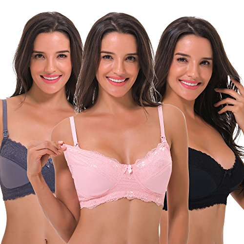 Curve Muse Women's Plus Size Nursing Wirefree Bra with Full Figure Lace-3Pack-BLACK,Nude,GRAY-46DDDD