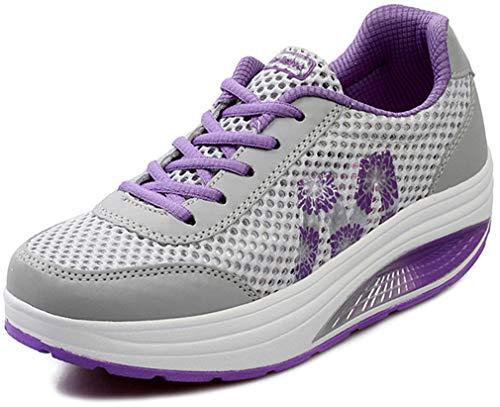 Solshine Damen Netz Sneakers Plateauschuhe Sportschuhe A233 Violett2 38EU