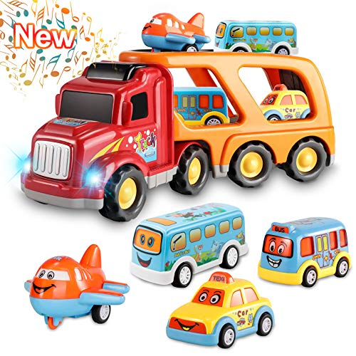 Toys for 3 4 5 6 Year Old Boys, Kids Toys Car for Girls Boys Toddlers, 5 in 1 Friction Power Toys Vehicle in Carrier Truck for Age 3-9 Boys Toys Car Party Christmas Festival Gifts for Boys Age 3 4 5 6