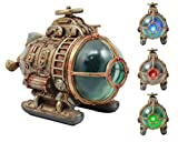 Ebros Vintage Design Holmes Nautilus Steampunk Submarine LED Night Light Statue 7.5'Long Science Fiction Steampunk Maritime Combat Submarine with Automatic Color Changing LED Lights