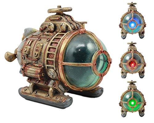 steampunk science fictions Ebros Vintage Design Holmes Nautilus Steampunk Submarine LED Night Light Statue 7.5