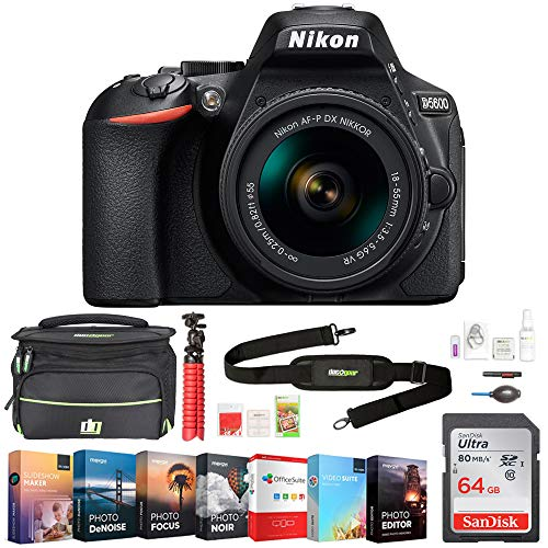 Nikon 1576 D5600 24.2MP DX-Format DSLR Camera with AF-P 18-55mm f/3.5-5.6G VR Lens Bundle with 64GB Memory Card, Professional Editing Suite, Deco Gear Camera Bag (Medium) with Accessories (9 Items)