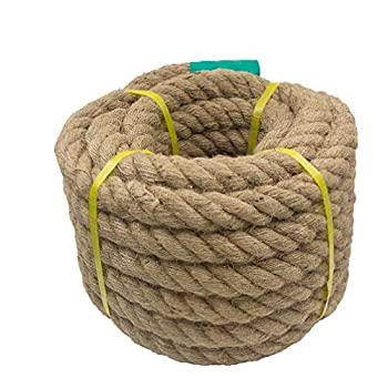 Aoneky Jute Rope - 1.18/1.5/2 Inch Twisted Hemp Rope for Crafts Climbing Anchor Hammock Nautical Cat Scratching Post Tug of War Decorate  1 1/5 inch x 48 Feet
