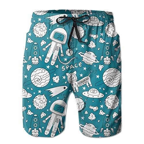 tyui7 Herren Sommerkatze Astronaut Planet UFO Rocket Schnelltrocknend Badehose Boader Shorts Strandbadeanzug Sport, Größe L
