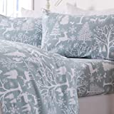 Extra Soft Lodge Printed 100% Turkish Cotton Flannel Sheet Set. Warm, Cozy, Luxury Winter Bed Sheets. Lakeview Collection (King, Enchanted Woods - Blue)