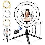 Abafia Anillo de luz LED Selfie Ring Light con Control Remoto Bluetooth y Trípode 3 Colores Modo 11 Brillos Regulables, Aro de luz LED Rotación de 360 ° para Selfie, Maquillaje y Youtube Live
