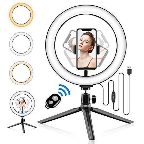 Selfie Light, Abafia Selfie Light Ring Ricaricabile Selfie Lampada Led con Clip,9 Livelli Regolabile e 4 Modalità di Luminosità per iPhone 11 / Samsung/Huawei/Xiaomi/Tavoletta/Computer