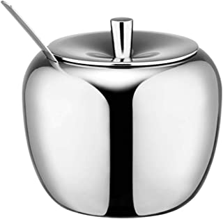 Povinmos Stainless Steel Apple Sugar Bowl Seasoning Jar Condiment Pot Spice Container Canister Cruet with Lid and Spoon