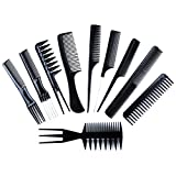 10Pcs/Set Professional Hair Comb Salon Barber Styling Comb Set Hairdressing Combs Hair Care Styling Tools for All Hair Types & Styles (Black)