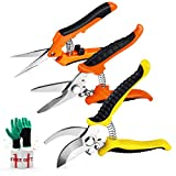 3 Pack Garden Pruning Shears Stainless Steel Blades Handheld Pruners Set with...