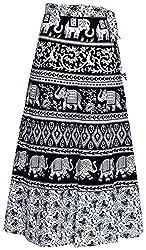 Radhika Taxtiles Womens Cotton Jaipuri Rajsthani Wrap-Around Long Skirt with Printed (Multicolour, Free Size) RT_GPS_166