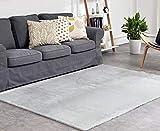 ATTA Creations Luxury Faux Fur Sheepskin Lambskin Rug Area Rug 5'x7', Machine Washable, Extra Soft & Thick, Bedroom Rug Living Room Rug Nursery Rug, Light Grey