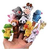Gearmax® 10pcs Verschiedene Karikatur Tier Fingerpuppen,Fingerpuppen Tiere - 10 Stück Set Weicher Samt Puppen Spielzeug -