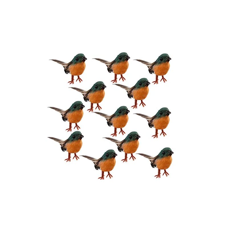 silk flower arrangements nuxn 12pcs robin bird figures artificial feather robin birds decoration christmas tree ornaments mini cute birds with flexible wire paws for crafts fairy garden tree decoration