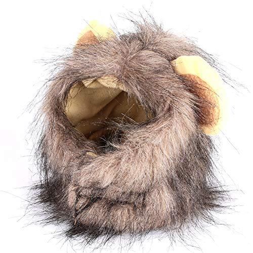 Gorro peludo con melena de león para mascotas de Kicode,   con orejas levantadas, para fiesta de disfraces, festival o fiestas en casa