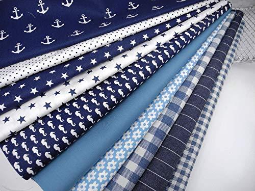 Qjutie Lottashaus No193 Stoffpaket 10x Stoff Weiß Navy Marine Dunkelblau Blau Babyblau Stoffe Patchwork Sterne Streifen für Krabbeldecke Decke Patchwork Junge Shabby Chic