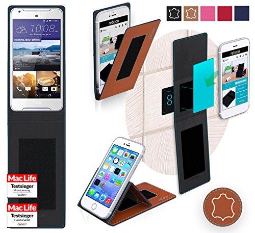 Hülle für HTC Desire 628 Tasche Cover Hülle Bumper | Braun Leder | Testsieger