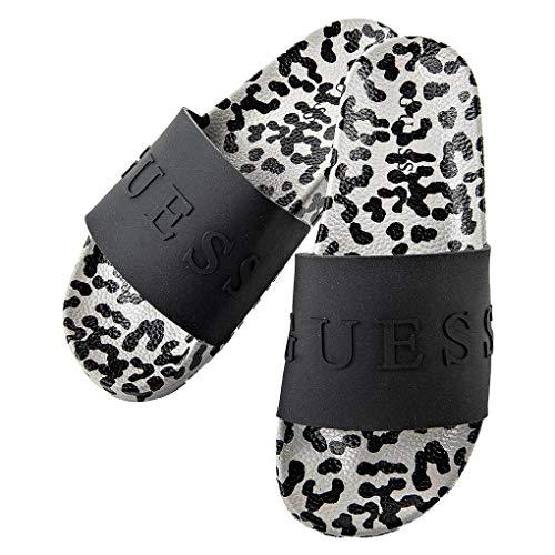 Guess Frauen Badesandalen - Slipper, Leoparden-Muster, schwarz/grau EUR 37