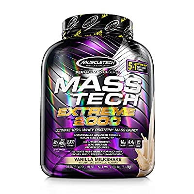 Mass Gainer Protein Powder   MuscleTech Mass-Tech Extreme 2000   Whey Protein Muscle Builder for Men & Women   Protein + Creatine Monohydrate + Carbs   Max-Protein for Weight Gain   Vanilla, 7 lb from MuscleTech