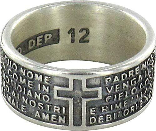 STOCK: Anello in argento 925 brunito con l'incisa preghiera Padre Nostro misura italiana n°12 - diametro interno mm 16,6 circa