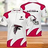 BINGFENG NFL T-Shirts Atlanta Falcons Hommes Football Américain Maillots Polo Shirts pour Les Hommes Et Les Femmes T-Shirt Rugby Football Supporters Manches Courtes White+Red-XXXXXL