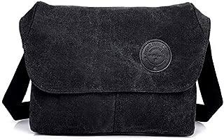 Men's Simple Business Casual Bag Fashion Canvas Men's Bag Shoulder Messenger Bag Canvas Bag JAUROUXIYUJINn (Color : Black)