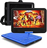 """12.5"""" Portable Car headrest Video Player with 10.5"""" HD Swivel Display Screen, Region-Free Portable DVD Player Supports USB 2.0, SYNC TV Remote Control, Rechargeable Battery, AV Cable Car Charger"""