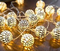 CozyHome - Guirnalda luces LEDs decorativa de estilo oriental | 7 m + 20 bolas pequeñas plateadas con LED | solo funciona con pilas | decora habitacion | bajo consumo [Classe energética A]