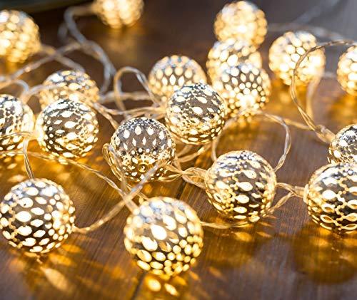 CozyHome marokkanische LED Lichterkette Batterie | 5 Meter Gesamtlänge mit Timer | 20 LEDs warmweiß | Kugeln Orientalisch Silber Lichterkette innen | Zimmer Deko Kugel Lichterketten batteriebetrieben