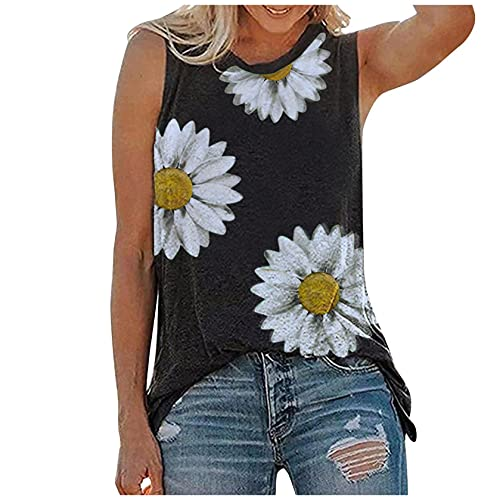 Tank Tops for Women, OutTop Womens Summer Sleeveless Tops Casual Loose Fit Plus Size Sunflower Printed Tee Shirts (A-Black, M)